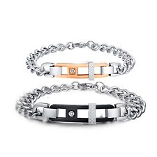 New Fashion Mens Womens Stainless Steel Couples Two Tone Chain Bracelet