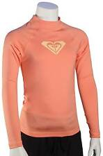 Roxy Girl's Whole Hearted LS Rash Guard - Sunkissed Coral - New