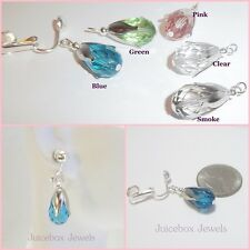 CLIP or Pierced Faceted Glass Tulip Silver Plated Handmade Drop Earrings 1 Pair