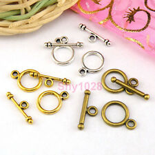 20Sets Tibetan Silver,Gold,Bronze Tiny Circle Connectors Toggle Clasps M1385
