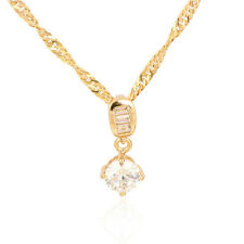 18K Gold Plated Multicolor CZ Round Drops Pendant Fit Long Chain Necklace