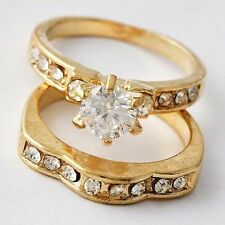 Flawless Yellow GF Womens Gift Clear CZ Promise Love Band Ring Set Size 6-9