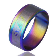 Rainbow Stainless Steel Carve Scorpion Pattern band Womens Mens Ring size 6-8