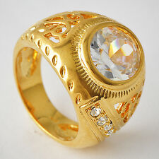 Deluxe Mens Yellow Gold Filled Clear CZ Promise Love Band Ring Size 7-8