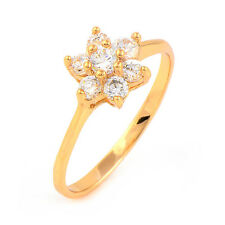 Flower 18K Yellow Gold Plated Clear Round CZ Promise Love Band Ring Woman
