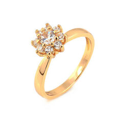 Fashion Flower 18K Yellow Gold Plated Clear Round CZ Promise Love Band Ring