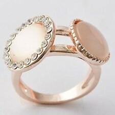 Pretty Womens Gold Filled Clear CZ,Opal Promise Love Band Ring Size 6,8,9,10