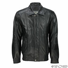 Mens Black Real Soft Leather Vintage Aviator Style Collar Bomber Classic Jacket