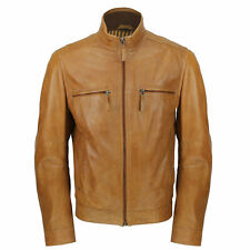 Mens Tan Real Ultra Soft Sheep Leather Classic Biker Style Zipped Bomber Jacket