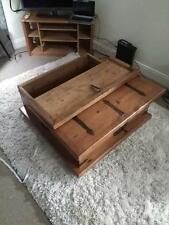 Large rustic solid wood storage chest coffee table