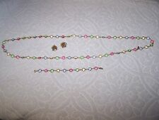 Swarovski Signed Necklace Bracelet & Earrings Set Austrian Pastel Multi Colored