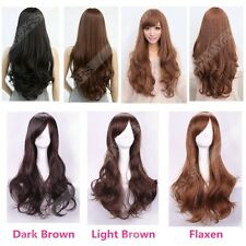 Womens Long Brown Curly Wavy Full Wigs Party Hair Cosplay Lolita Fashion Wig QMR