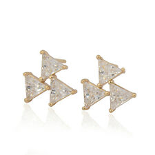 18K Yellow Gold Plated CZ Earrings Colorful Triangle CZ Stud Ear