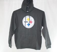 NEW Womens MAJESTIC Pittsburgh Steelers NFL Distressed Logo Gray Pullover Hoodie