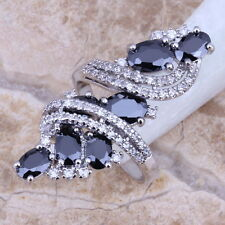 Black Sapphire White Topaz 925 Sterling Silver Overlay Gemstone Ring Size 5-12