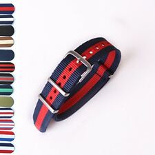 18/20/22mm Fabric Military Army Sport Nylon Canvas Striped Watch Strap 13 Color