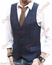 MENS BLUE & BROWN CHECK SLIM FIT TWEED STYLE WAISTCOAT VEST ALL SIZES