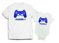 Adult and Onesie Father Son Player 1 Player 2 TShirt Onesie combo Blue Print