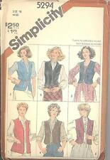 Simplicity 5294 Misses' Set of Lined and Unlined Vests  Size 16   Sewing Pattern
