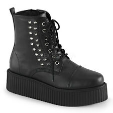 DEMONIA Men's Spikes Accent Front Lace Up Platform Creeper Booties V-CREEPER-573