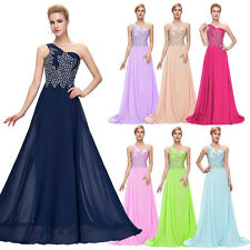 New Long Bridesmaid Sexy One shoulder Chiffon Ball Gown Evening Prom Party Dress