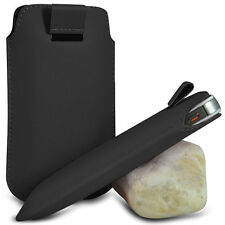 BLACK PULL TAB LEATHER POUCH SKIN COVER CASE SLEEVE PU HOLSTER FOR VARIOUS PHONE