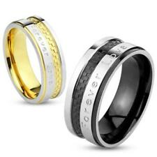 Stainless Steel Ring Silver gold Back 6/8mm 'Forever Love' 47 (15) – 69 (22)