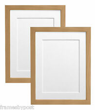Pack of 2 Beech Photo Picture Frame & Mounts 25mm wide x 15mm deep H7 MDF