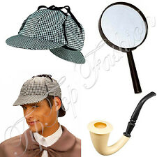 NEW DEERSTALKER HAT+MAGNIFYING+DETECTIVE PIPE SHERLOCK HOLMES FANCY DRESS SET