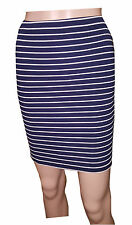 LADIES WOMENS NEVY & WHITE STRIP  FITTED  MINI SKIRT SIZE ,10,12,14,16,18
