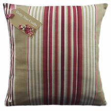 Designer Laura Ashley Irving Stripe Cranberry Red fabric Cushion Cover