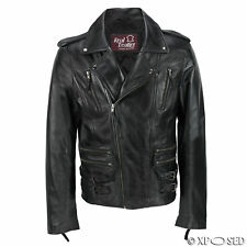 Mens Black Soft Real Leather Motorcycle Cross Zipped Vintage Fitted Biker Jacket