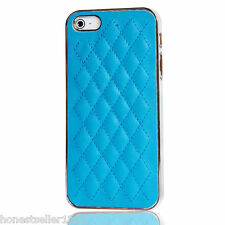 Quilted Leather Chrome Bumper Back Case Cover for Apple iPhone 5 5S