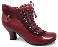 Hush Puppies VIVIANNA Womens Ladies Leather Suede Lace Up Side Zip Boots Red New