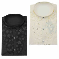Mens Black Cream Slim Fit Disco 70s Wedding Fancy Dress Party Wing Collar Shirt