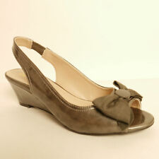 Lotus Rosana Pewter Patent Wedge Sling Back Shoe Bow Detail