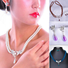 Elegant Faux Pearl Crystal Necklace Earrings Bridesmaid Jewelry Sets Ladies New