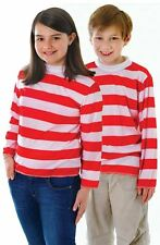 Kids Red and White Striped Top Jumper Book Week Wally Fancy Dress Costume CC964