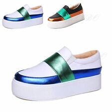 Women Girls Platform Goth Creeper Shoes Flat Thick Heel Slip On Loafers Sneakers