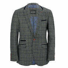Mens Tweed Grey Checked Designer Vintage Elbow Patch Suit Jacket Fitted Blazer