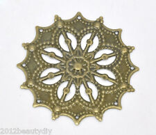 50 Hot Bronze Tone Filigree Flower Wraps Connectors 43mm