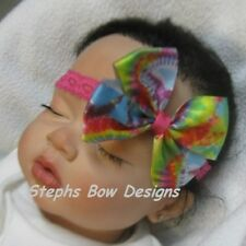 "3"" BRIGHT NEON TIE DYE DAINTY HAIR BOW SOFT STRETCHY HEADBAND So CUTE"