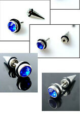 Screw Awl Cool Mens Ear Stud Earring Crystal Stainless Steel Round Spike 2pcs