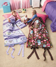 "Matching Girl and Doll Sleeping Bags Owl or Butterfly Print Sleepover 18"" Doll"