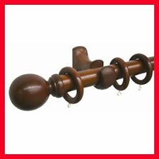 NEW! 33mm x 260cm Wooden Pole Curtains Blinds Rod Set Ball Finials & Rings