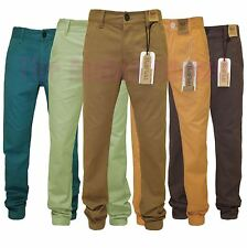 """Bellfield Mens Carrot Fit Twisted Seam Straight Leg Chino Jeans Trousers 28""""-36"""""""