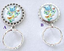 MAGNETIC or PIN Name Badge OR EyeGlass Holder. Reading or Sunglasses Butterflies