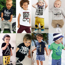 2PCS Toddler Kids Cotton T-shirt Tops+ Shorts Trousers Clothes Baby Boy Set 1-7Y