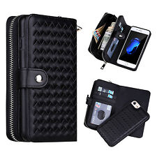 Black Weave Woven Leather Zipper Purse Wallet Case Cover For iPhone & Samsung