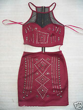 NWT bebe dark red mesh cutout waist studs sexy bodycon skirt top dress L large